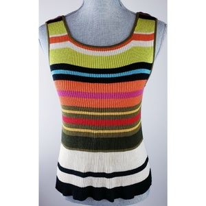 NY & CO Striped Silk and Cotton Sweater Tank Top